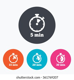 Timer icons. 5, 15, 20 and 30 minutes stopwatch symbols. Circle flat buttons with icon.