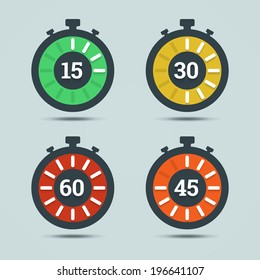 Timer icons with color gradation and numbers in flat style on a light background. Vector illustration in EPS10.