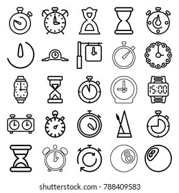 Timer icons. set of 25 editable outline timer icons such as clock, stopwatch, hourglass, metronome, stopwatch camera, wall clock, wrist watch, wrist dial watch