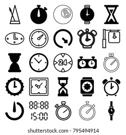 Timer icons. set of 25 editable filled and outline timer icons such as stopwatch camera, hourglass, wall clock, wrist watch, sundial, wrist watch with sun, clock, stopwatch