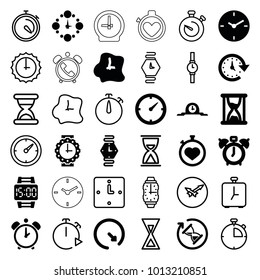 Timer icons. set of 36 editable filled and outline timer icons such as clock alarm, stopwatch, clock, time, wall clock, wrist watch for woman, wrist watch, wrist dial watch