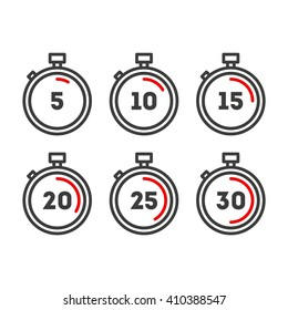 Timer line icons. Timer icons set. Vector timer icons