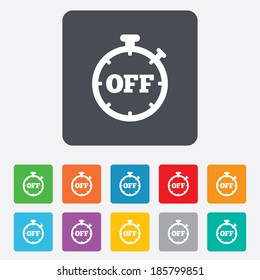 Timer off sign icon. Stopwatch symbol. Rounded squares 11 buttons. Vector