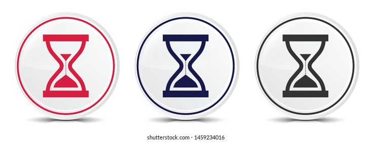 Timer sand hourglass icon crystal flat round button set illustration design isolated on white background