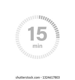 Timer sign 15 min on white background