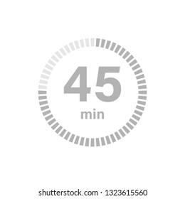 Timer sign 45 min on white background