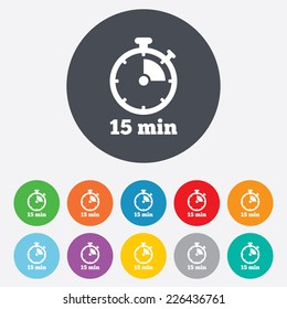 Timer sign icon. 15 minutes stopwatch symbol. Round colourful 11 buttons. Vector