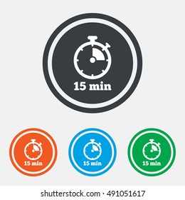 Timer sign icon. 15 minutes stopwatch symbol. Graphic design web element. Flat timer symbol on the round button. Vector