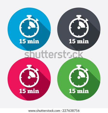timer sign icon 15 minutes stopwatch stock vector royalty free