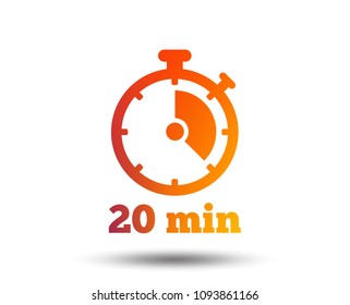 Timer sign icon. 20 minutes stopwatch symbol. Blurred gradient design element. Vivid graphic flat icon. Vector