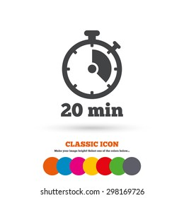 Timer sign icon. 20 minutes stopwatch symbol. Classic flat icon. Colored circles. Vector