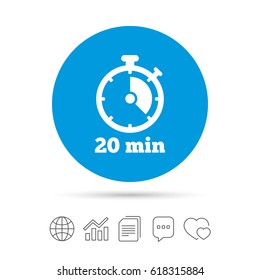 Timer sign icon. 20 minutes stopwatch symbol. Copy files, chat speech bubble and chart web icons. Vector
