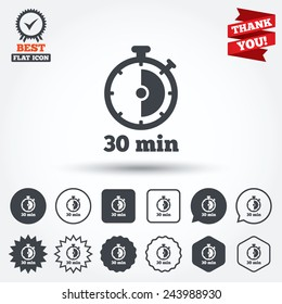 Timer sign icon. 30 minutes stopwatch symbol. Circle, star, speech bubble and square buttons. Award medal with check mark. Thank you. Vector