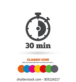 Timer sign icon. 30 minutes stopwatch symbol. Classic flat icon. Colored circles. Vector