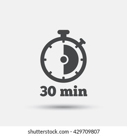 Timer sign icon. 30 minutes stopwatch symbol. Flat timer web icon on white background. Vector
