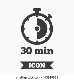 Timer sign icon. 30 minutes stopwatch symbol. Graphic design element. Flat timer symbol on white background. Vector