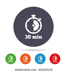Timer sign icon. 30 minutes stopwatch symbol. Round colourful buttons with flat icons. Vector