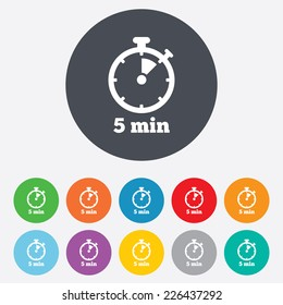 Timer sign icon. 5 minutes stopwatch symbol. Round colourful 11 buttons. Vector