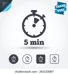Timer sign icon. 5 minutes stopwatch symbol. Circle and square buttons. Flat design set. Thank you ribbon. Vector