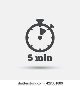 Timer sign icon. 5 minutes stopwatch symbol. Flat timer web icon on white background. Vector