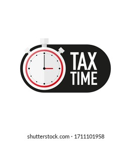 Timer with TAX TIME text countdown vector illustration template on white background. Vector illustration.