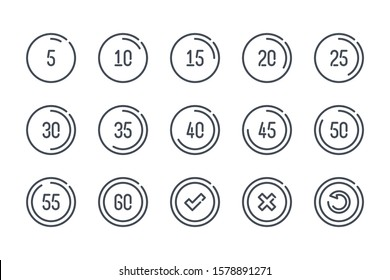 Timer and timepiece related line icon set. Five second time interval linear icons. Stopwatch and time measurement outline vector sign collection.