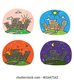 Times of day icon set. Cartoon style hand drawn.