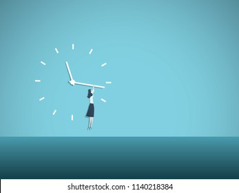 Time's up movement vector illustration concept with woman hanging on clock face. Symbol of progress, equal opportunities, salary gap, gender issues. Eps10 vector illustration.