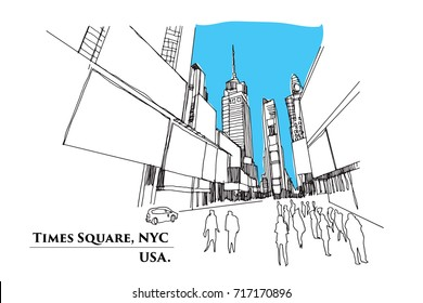 Times Square, New York. Street in perspective, Vector illustration sketch design.
