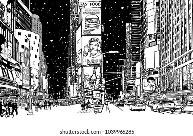 Times square under snow - vector illustration