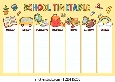 Timetable for elementary school. Weekly planner template with  cartoon school objects and symbols on yellow background