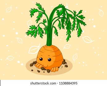 Timid cartoon carrot sticking in earth