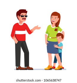 Timid kid hiding behind mother afraid of flirting adult man with moustache wearing sunglasses. Single parent mother with scared son talking to stranger. Flat style vector isolated illustration