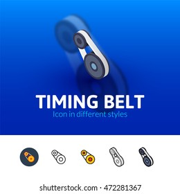 Timing belt color icon, vector symbol in flat, outline and isometric style isolated on blur background