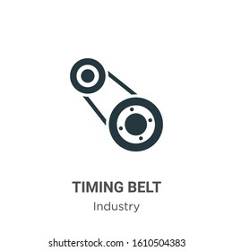 Timing belt glyph icon vector on white background. Flat vector timing belt icon symbol sign from modern industry collection for mobile concept and web apps design.