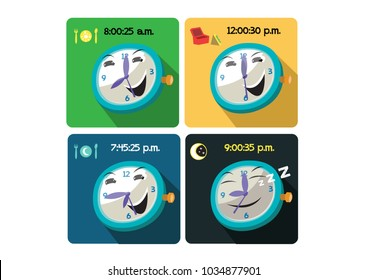 Timings or routine of eating and sleeping within 24 hours. Editable Clip Art.