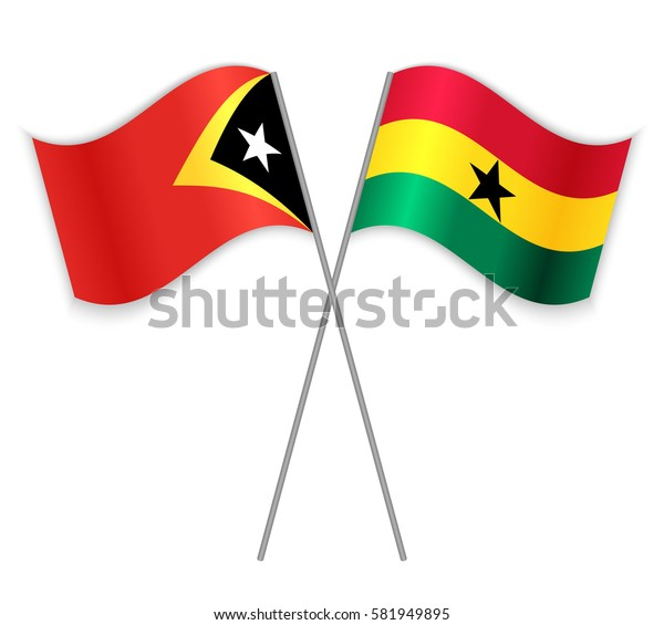 Timorese and Ghanaian crossed flags. East Timor combined with Ghana isolated on white. Language learning, international business or travel concept.