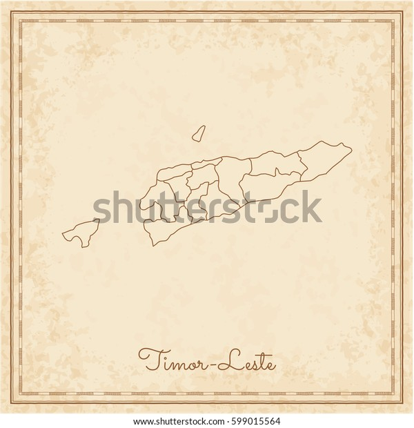 Timor-Leste region map: stilyzed old pirate parchment imitation. Detailed map of Timor-Leste regions. Vector illustration.