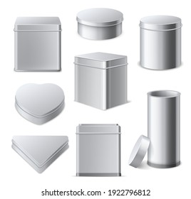 Tin boxes. Realistic 3d square, cylinder and round metallic containers with lid, tea and cookies gift packaging, different shapes mockups collection, aluminium closed blank boxes vector isolated set