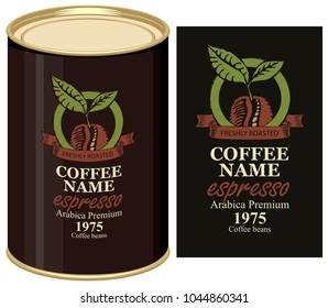 A tin can with black label for coffee beans. Vector label for coffee with coffee bean and inscription and tin can with this label.