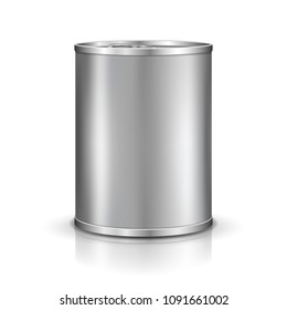Tin can. Canned metal packaging. Metal container for food products. Vector template for your design.