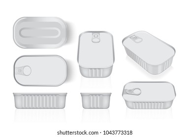 tin can from different sides mock up vector template