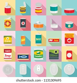 Tin can food package jar icons set. Flat illustration of 25 tin can food package jar vector icons for web