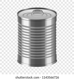 Tin can mockup. Realistic illustration of tin can vector mockup for on transparent background