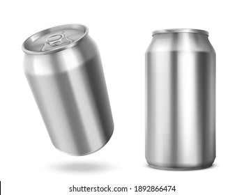 Tin can with open key front and angle view. Blank cylinder metal jar with pull ring on lid, silver colored aluminium canister for cold drink isolated on white background, Realistic 3d vector mockup