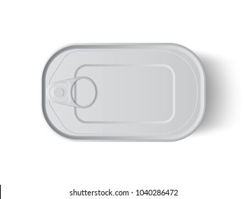 tin can with opener top view mock up vector template