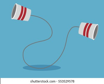 tin can phone. communication concept. vector illustration.