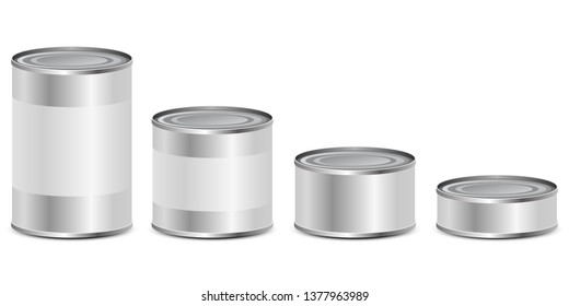 Tin can set vector design illustration isolated on white background