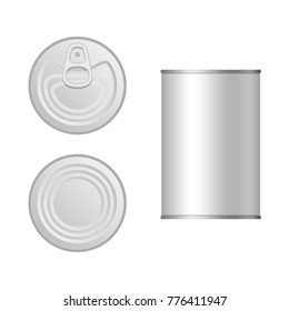 Tin can top and front view. Canned packaging template isolated on white background. Aluminum or steel canned for food. Vector illustration of Cans in realistic style. Food concept. EPS 10.