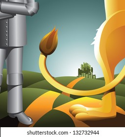 Tin man and lion on the road. EPS 8 vector, grouped for easy editing. No open shapes or paths.